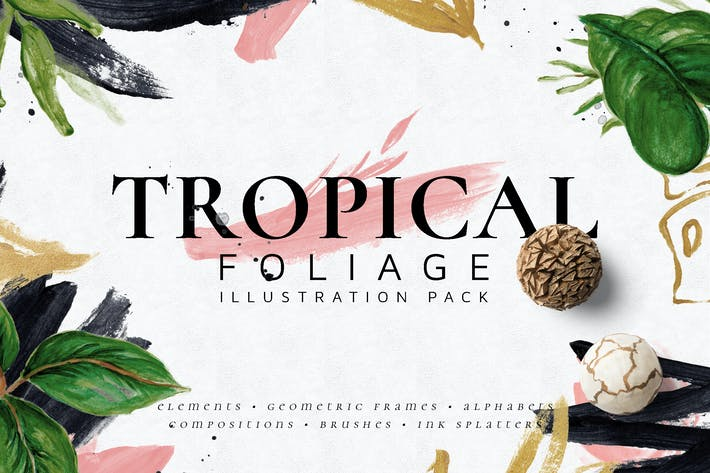 Thumbnail for Tropical Foliage Illustration Pack
