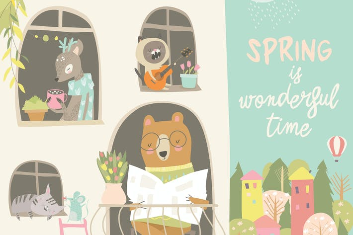 Thumbnail for Cute animals look out of the windows. Hello spring
