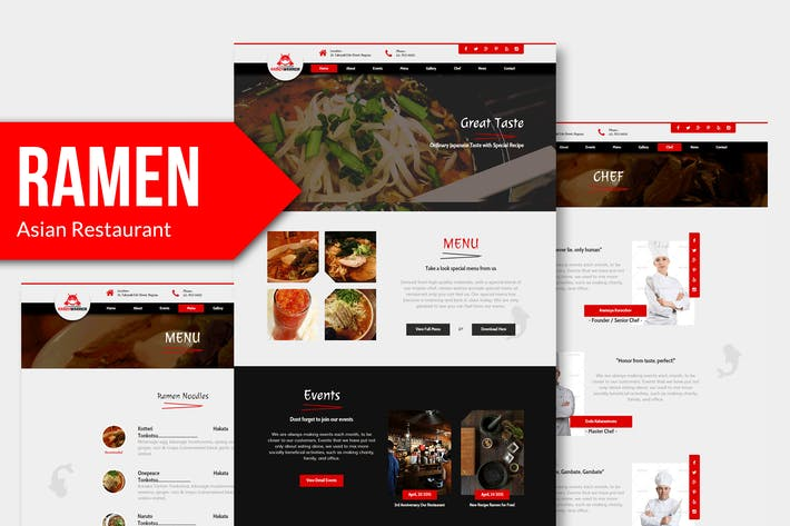 Thumbnail for Ramen Warrior - Asian Restaurant Muse Template