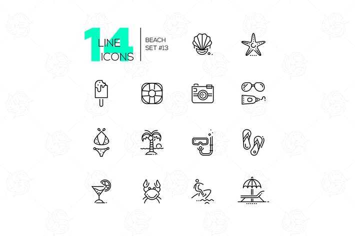 Thumbnail for At the Beach - line icons set