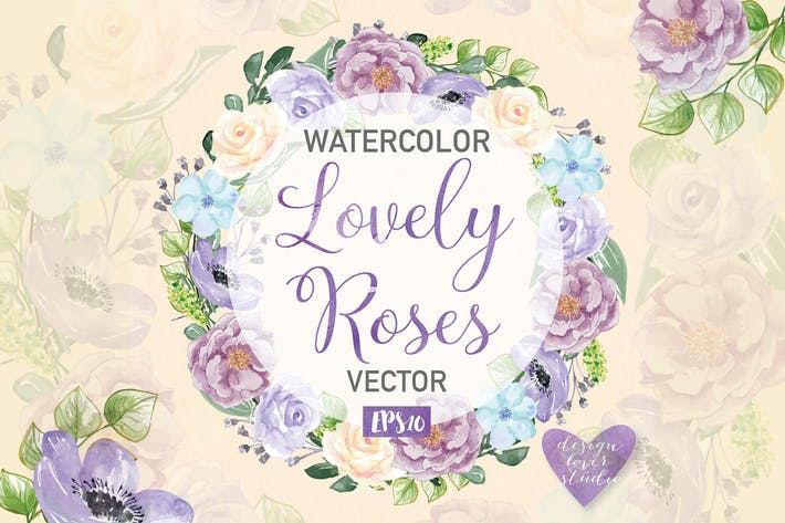 Thumbnail for Watercolor Rose Anemone wreath clipart