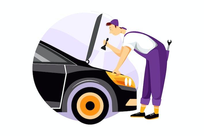 Thumbnail for Mechanic repairing the car vector illustration