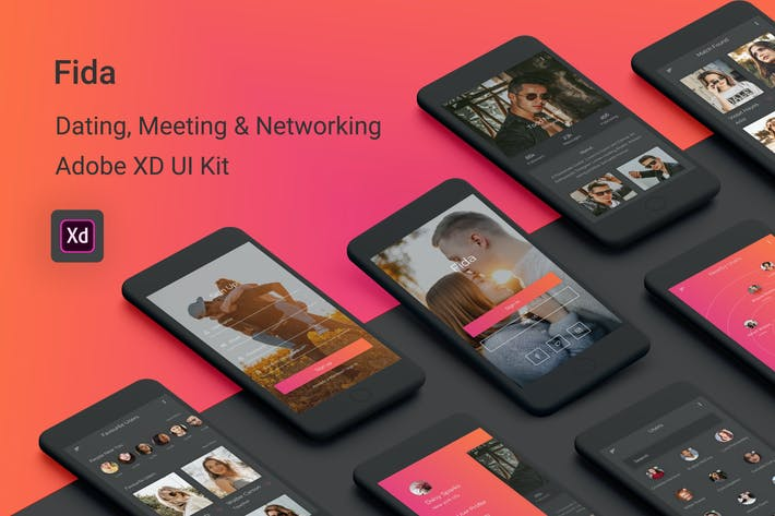 Thumbnail for Fida - Dating, Meeting & Networking Adobe XD App