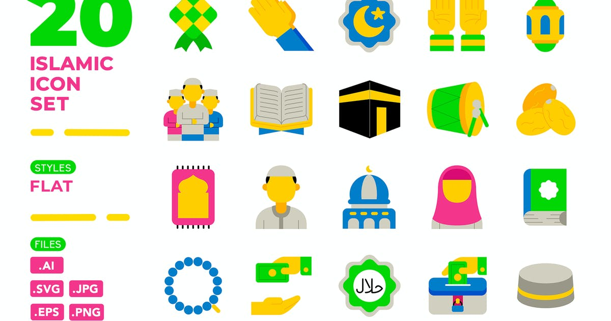 Download Islamic Icon Set (Flat) by medzcreative