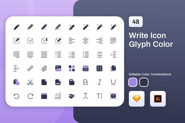 Thumbnail for Write Glyph Color Icon Set