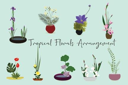 Tropical Florals Arrangement Hand Drawn