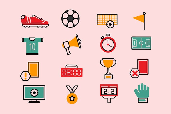 Thumbnail for Soccer Colorful Icons