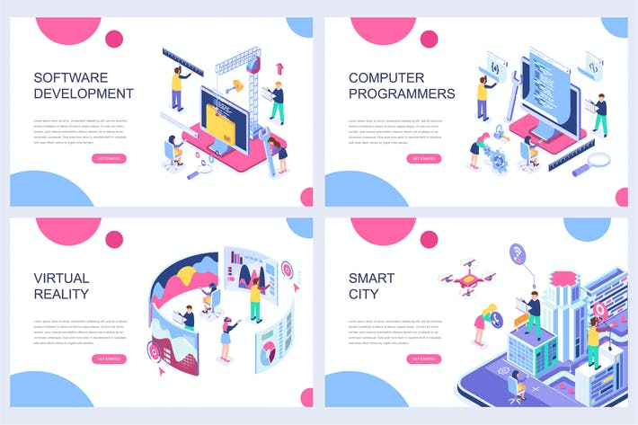 Thumbnail for Landing Page Templates Isometric Concept