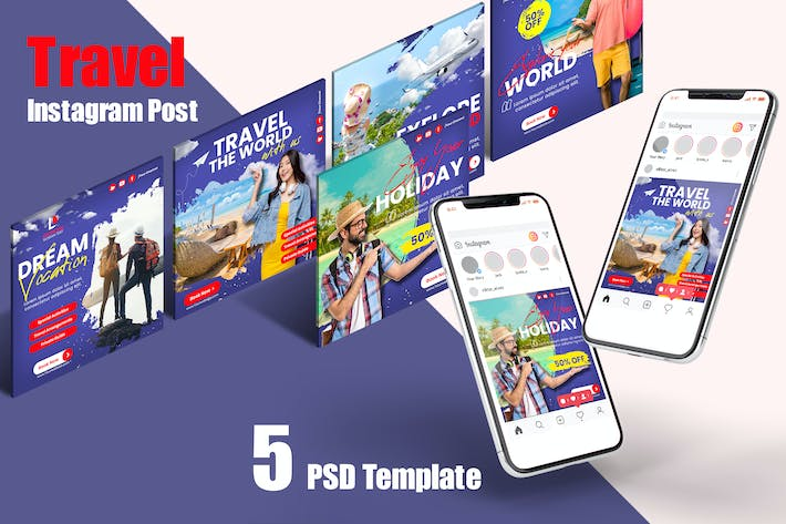 Thumbnail for Travel Instagram Posts PSD Template