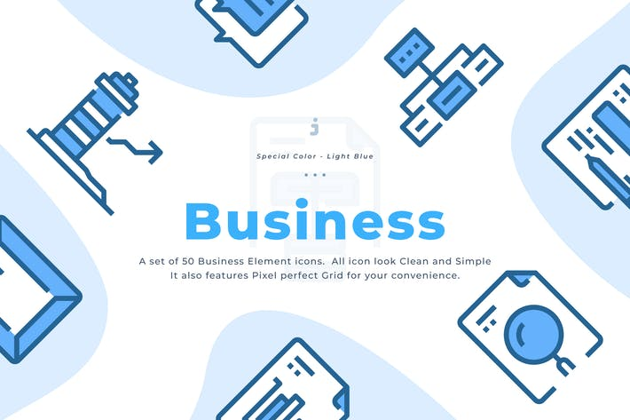 Thumbnail for 50 Business Element Icons - Light Blue