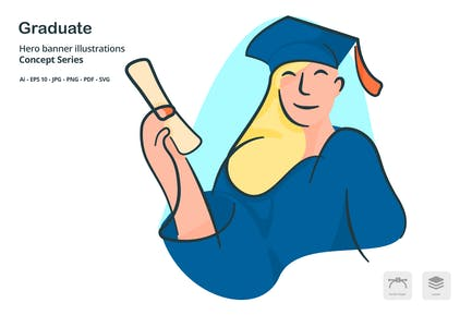 Graduate Woman Vektor Illustration