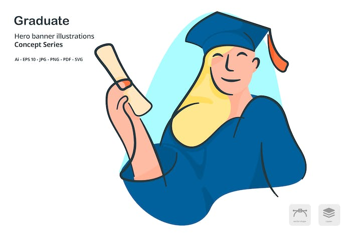 Cover Image For Graduate Woman Vector Illustration