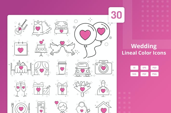 Wedding - Lineal Color Icons