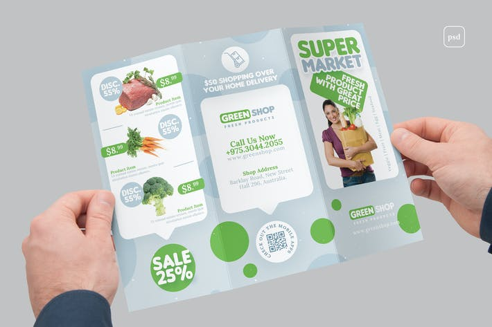 Thumbnail for Supermarket Products Sale Tri-Fold Brochure