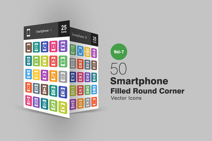 Thumbnail for 50 Smartphone Filled Round Corner Icons