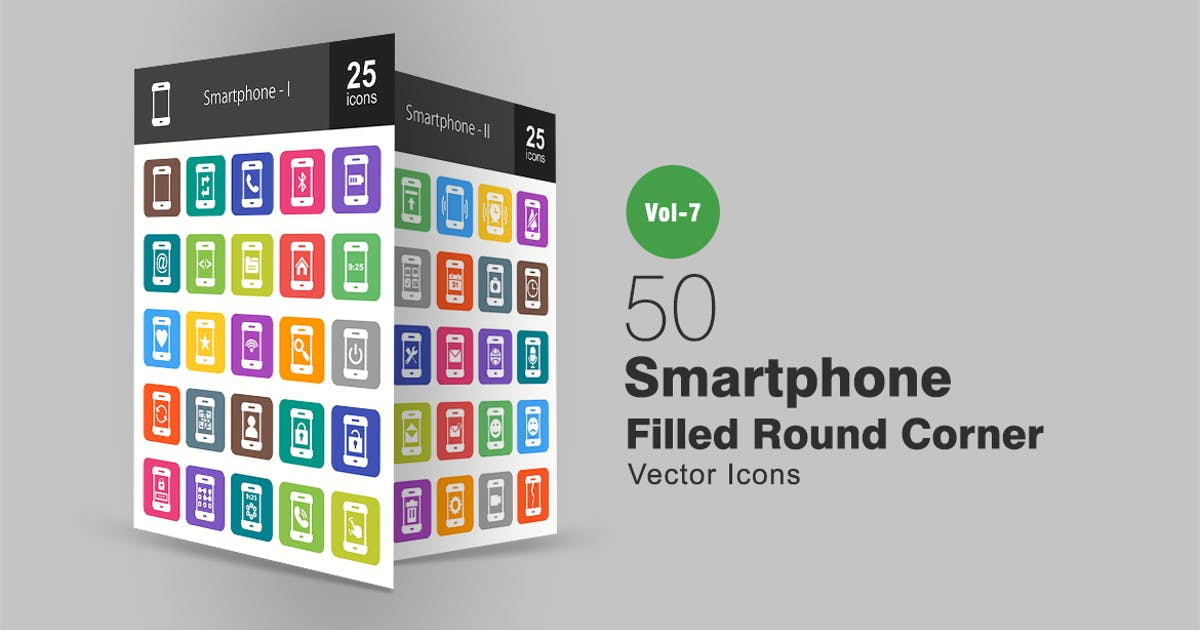 Download 50 Smartphone Filled Round Corner Icons by IconBunny