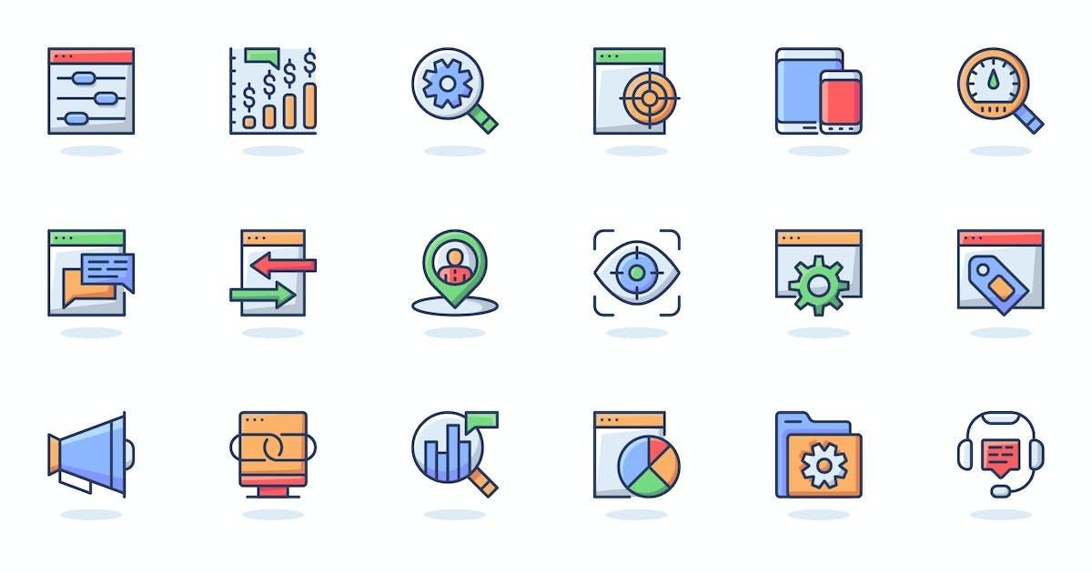 Download Seo Optimization Flat Line Web Icons Set by alexdndz
