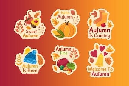 Warm Autumn Badges Set