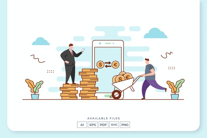 Иллюстрация концепции обмена валюты