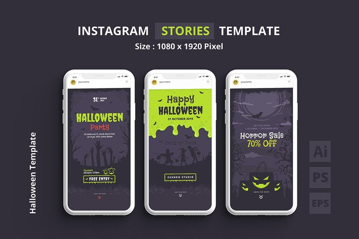 Thumbnail for Halloween Instagram Stories Template
