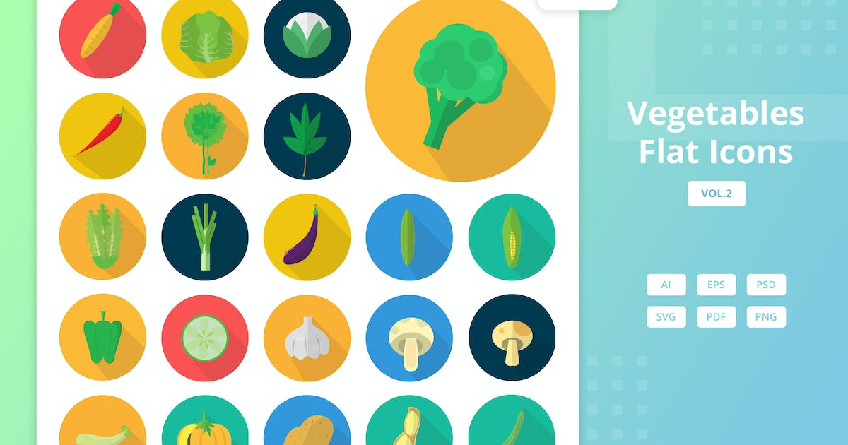 Download Vegetables - Flat Icons Vol.2 by Graphiqa