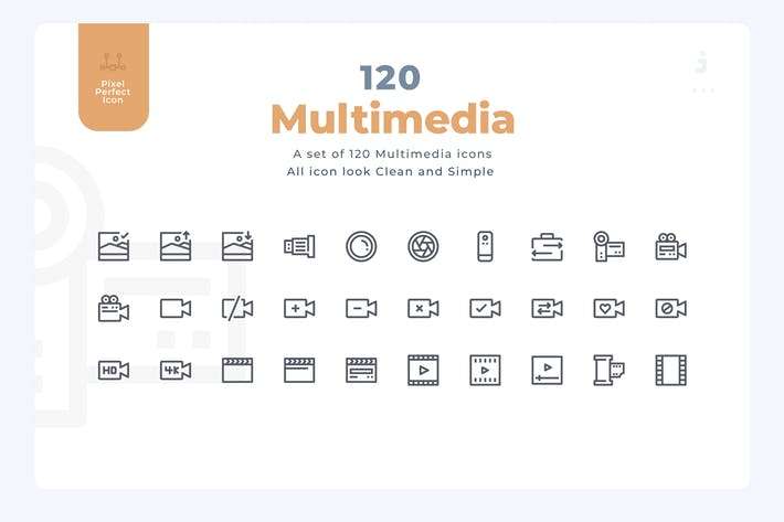 Thumbnail for 120 Multimedia Icons - Material Icon