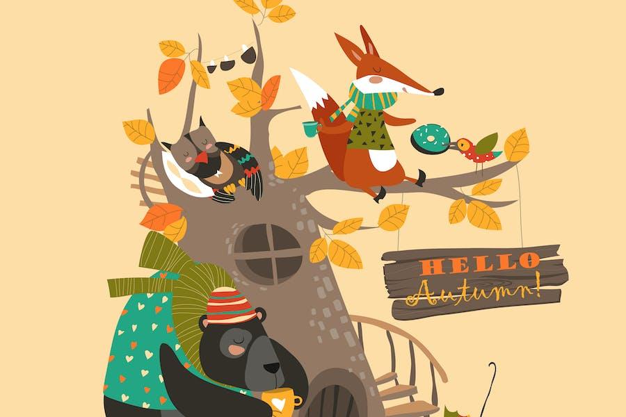 Funny animals on the autumn tree. Vector