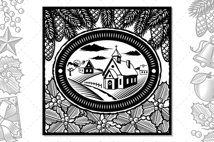 Thumbnail for Retro Winter Village Black And White