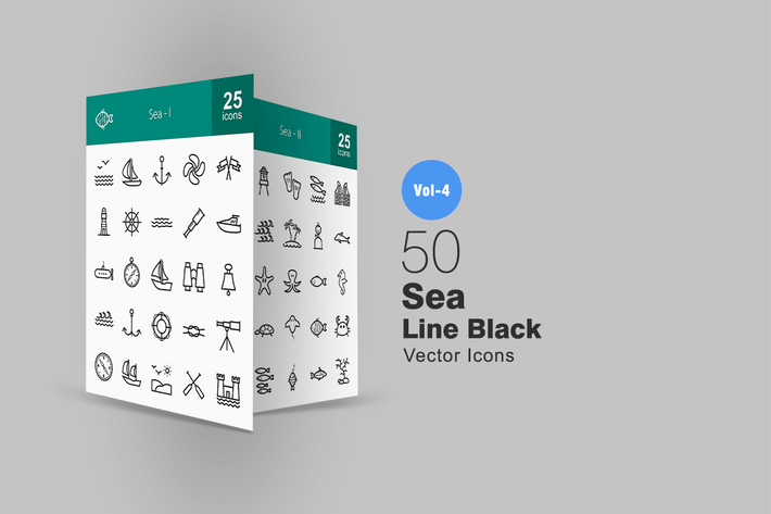 Thumbnail for 50 Sea Line Icons