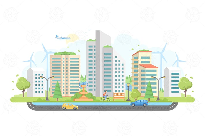 Cover Image For Cityscape with windmills - flat illustration