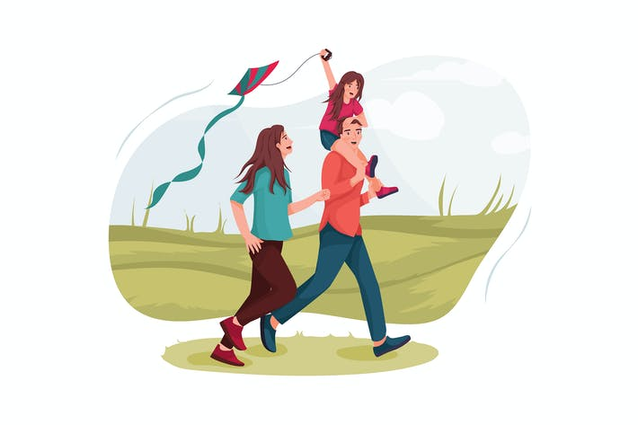 Parents and daughter flying kites on a meadow.