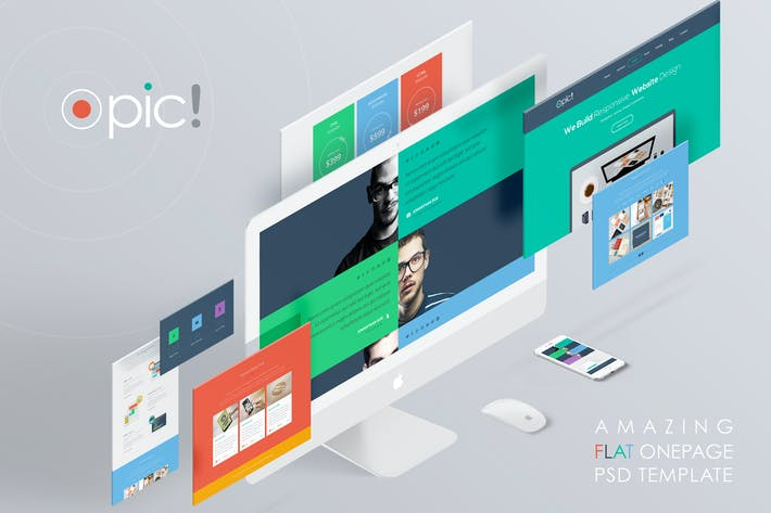 Cover Image For Opic - Modern Flat Onepage PSD Template