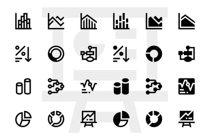 Graphs and charts icons