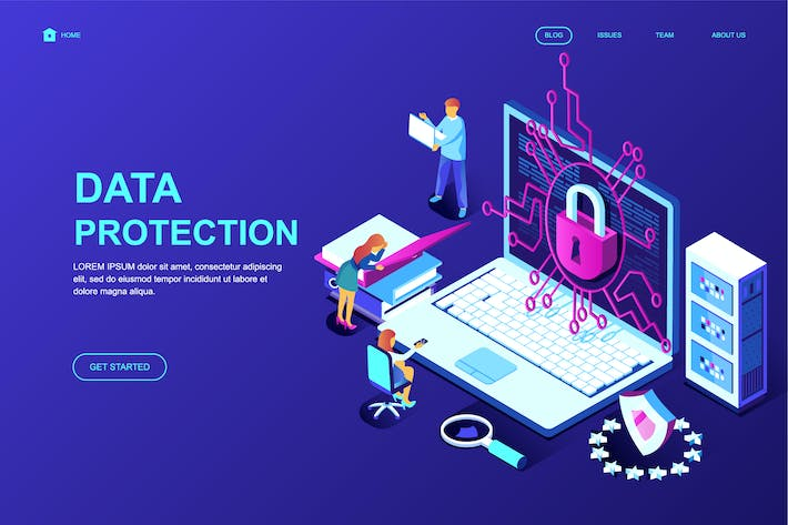 Data Protection Isometric Landing Page Template