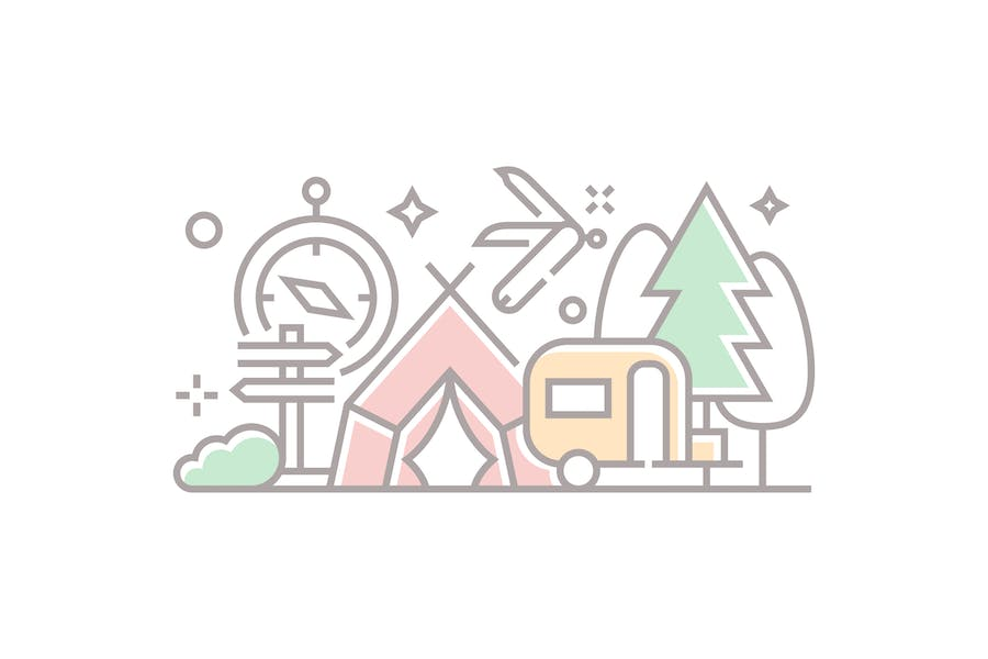 Camping and Adventure Illustration