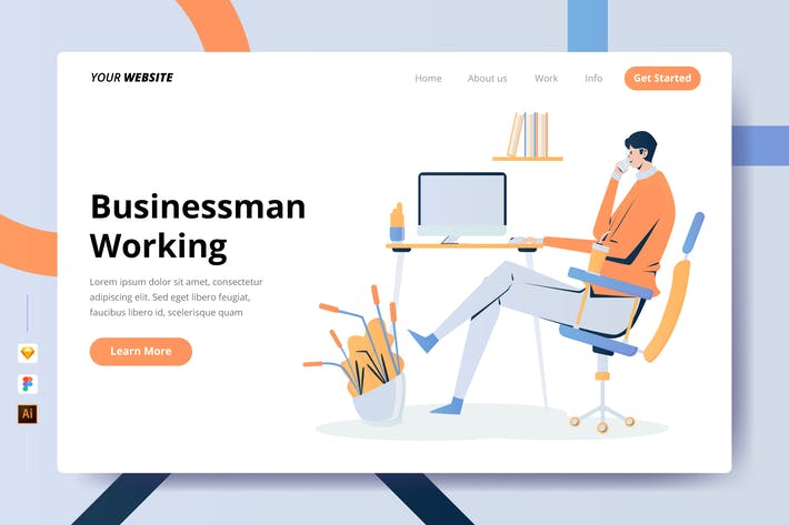 Thumbnail for Businessman Working - Landing Page