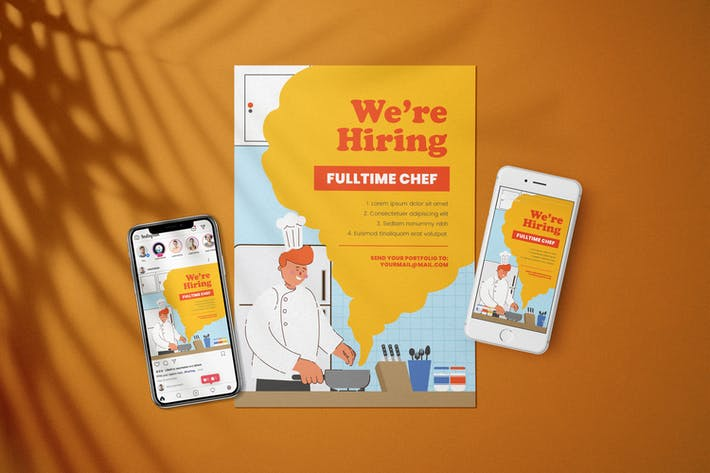 Thumbnail for Hiring Chef - Open Recruitment Flyer Kit