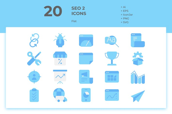 Thumbnail for 20 SEO Icons Vol. 2 (Flat)