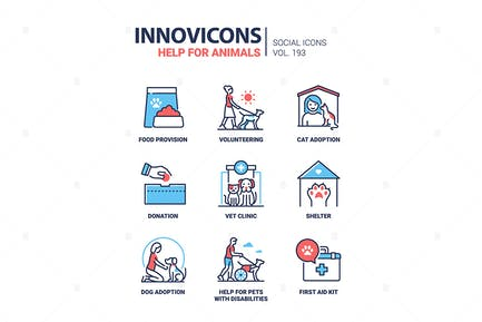 Help for Animals - Line Design Style Icons Set