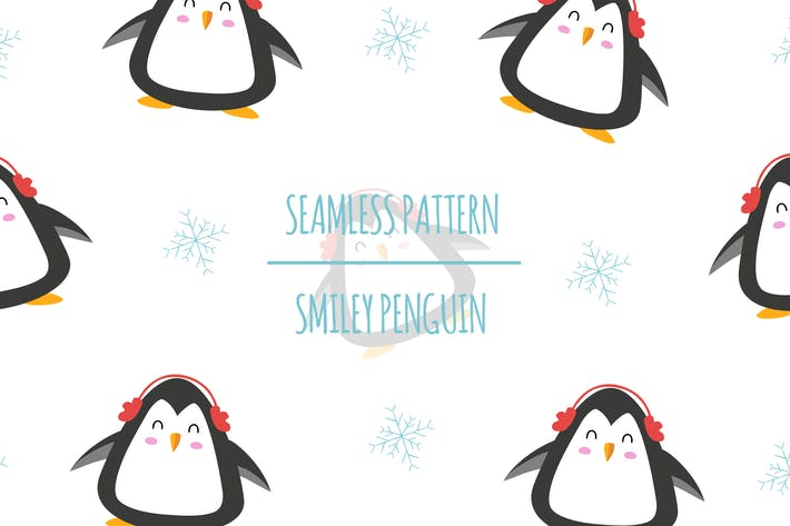 Smiley Penguin — Nahtloses Muster