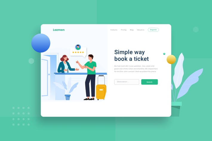 Hotel Check out with happy landing page