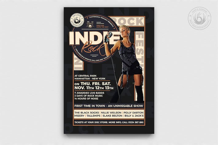 Thumbnail for Indie Rock Flyer Template V6