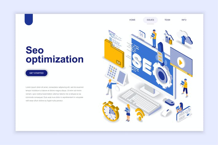 Cover Image For Seo Optimization Isometric Landing Page
