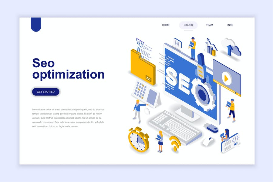 Seo Optimization Isometric Landing Page