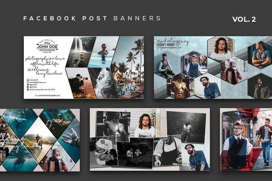 Collage Design Facebook Post Banners Vol. 2