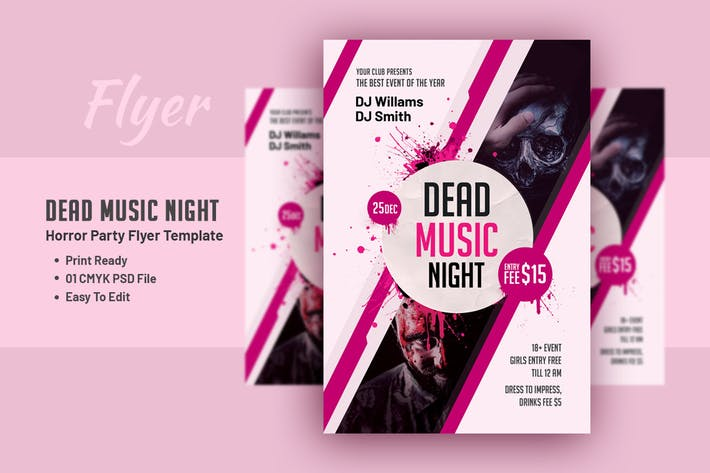 Cover Image For Dead Music Flyer - Horror Party Flyer Template