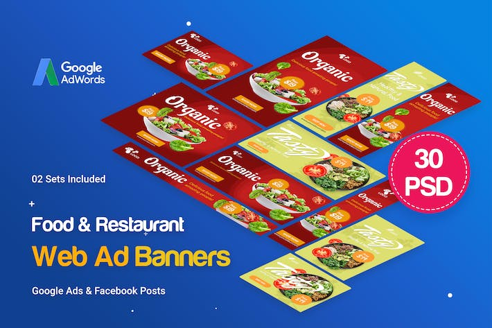 Thumbnail for Food & Restaurant Banners Ad - 30 PSD [02 Sets]