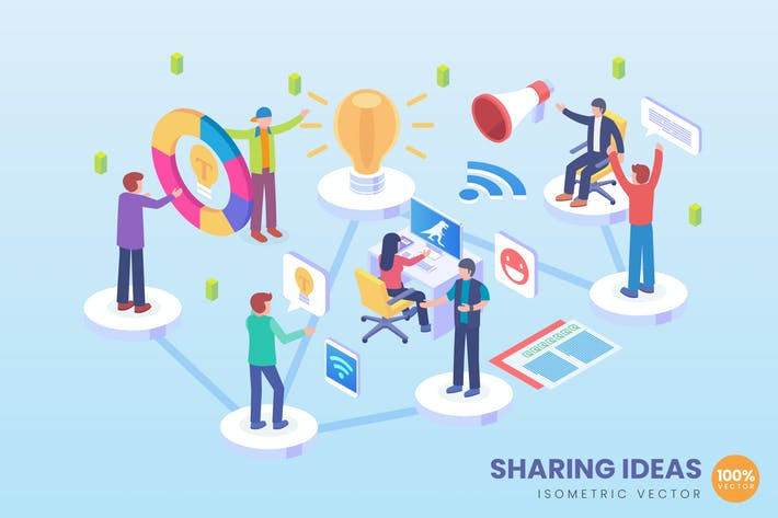 Thumbnail for Isometric Business Ideas Sharing Vector Concept