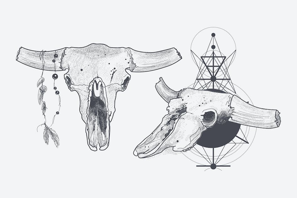 Download Dotwork animal skull with modern street style attr by fet