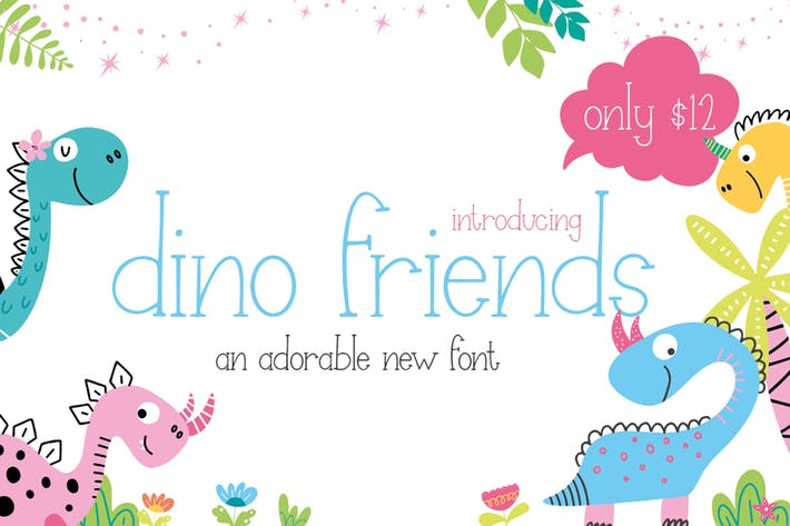 Thumbnail for Dino Friends Font